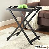 Stylish & Slick Folding Black Dinner Tray with Legs, Modern Wooden Tv Tray for Snacks, Breakfast, Lunch, Dinner, Foldable and Easy to Put Away, Serving Tray
