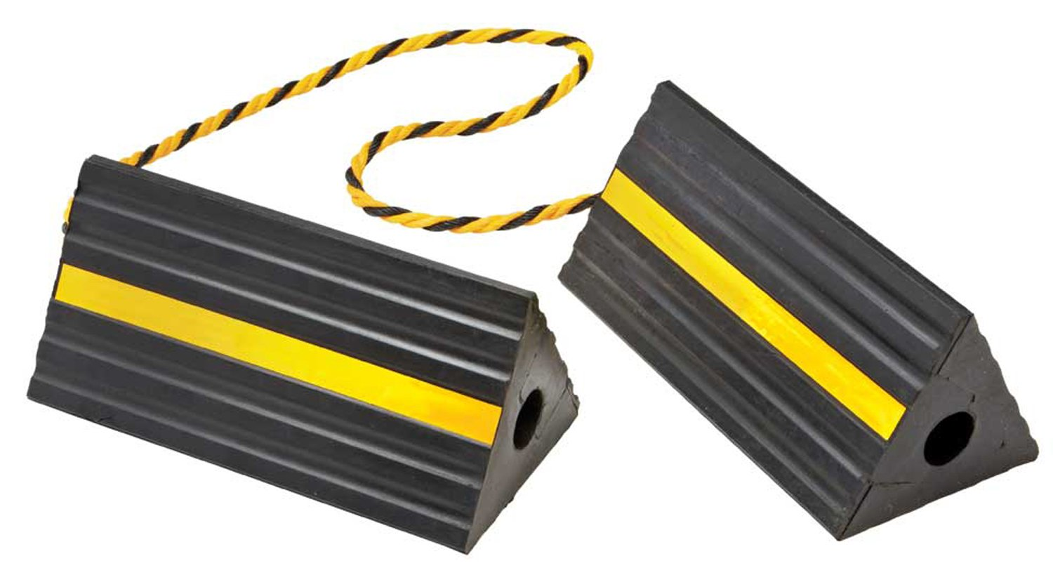 BUNKERWALL Industrial Rubber Wheel Chock Blocks with Rope 9.6'' Wide, 5'' High BW3431