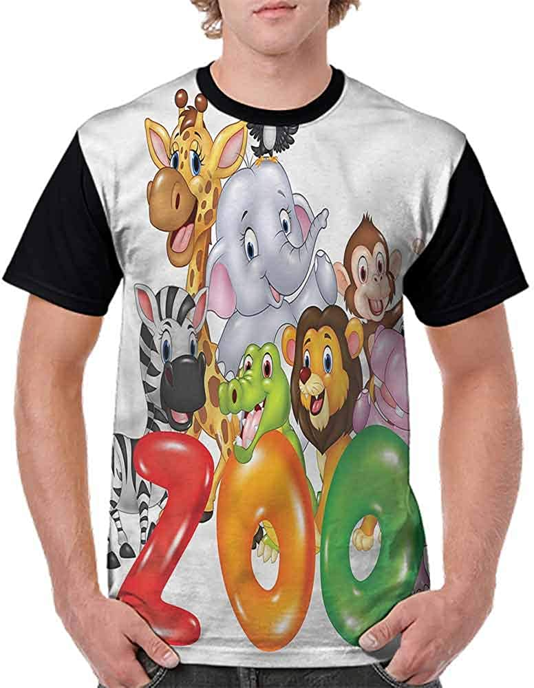 Vintage T-Shirt,Word Zoo Happy Wildlife Fashion Personality Customization