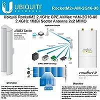 Ubiquiti RocketM2 RM2 2.4GHz CPE AirMax + AM-2G16-90 2.4GHz AirMax Sector 16dBi