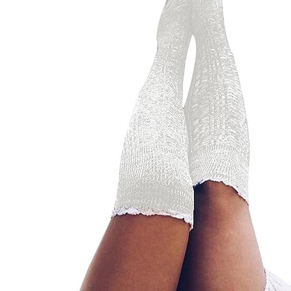 VJGOAL Moda casual de mujer color sólido Muslo Medias largas de punto Sobre la rodilla Mantener