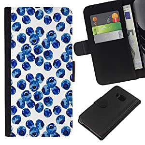HTC One M9 Modelo colorido cuero carpeta tirón caso cubierta piel Holster Funda protección - Blueberry Watercolor Porcelain Blue