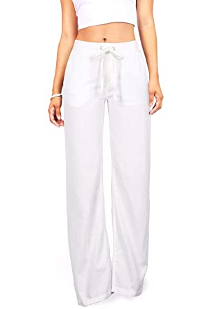 Amazon.com: Celebrity Pink Women's Juniors Wide Leg Linen Pants ...