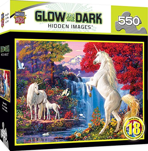 MasterPieces Hidden Images Glow in The Dark Dream World - Unicorns 550 Piece Jigsaw Puzzle by Steve Read