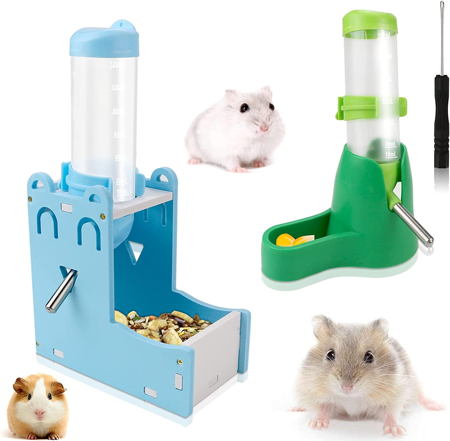 Oruuum 4 PCS Small Pet Automatic Drinking Bottle with Base Set, 2 Pieces 125ml/4oz Hamster Water Bottle, 2 Pieces Food Container Base for Hamster Rat Gerbil Guinea Pig(Blue and Green)
