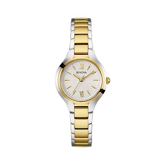 Bulova Reloj Funda para Mujer Pulsera de Acero Inoxidable - Oro de Dos Tonos - Disfraz de muñeca Reloj 98l217: Amazon.es: Relojes