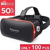 Pansonite 3D VR Glasses Virtual Reality Headset for Games & 3D Movies, Upgraded & Lightweight with Adjustable Pupil and Object Distance for iOS and Android Smartphone