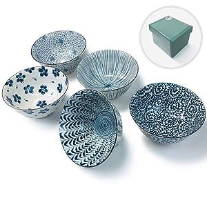 Japanese Mino Ware Chawan 5.0 inches Rice Bowls 5 patterns with Gift Box set, ceramic mino yaki