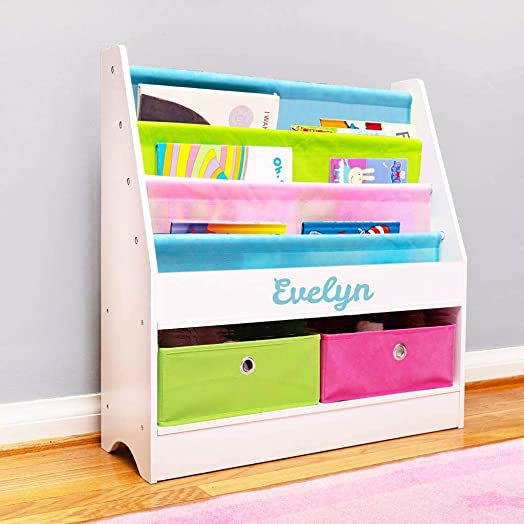 DIBSIES Personalized Kids Bookshelf Bookshelf with Storage - White with Pastel Fabric