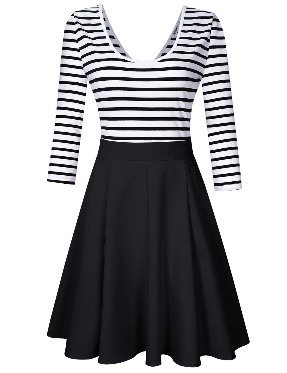 d578cb87ef Galleon - MISSKY Women s Stripe Long Sleeve Round Neck And V Neck Slim Fit  Flare Cute Mini Swing Cocktail Sexy Dresses For Women (XXL