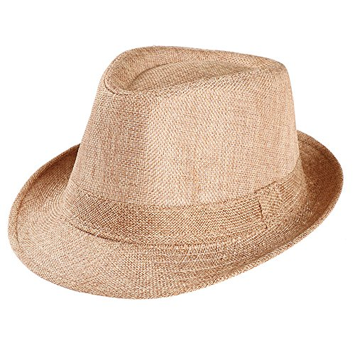 Unisex Summer Beach Straw Hat Trilby Gangster Cap Sun Protection Retro Hat Breathable Short Brim Hats (Khaki)]()