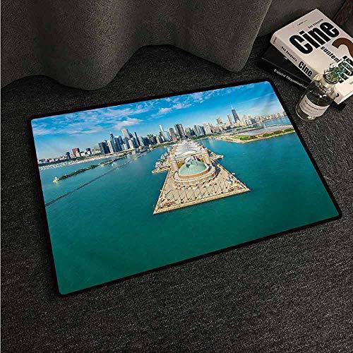 HCCJLCKS Fashion Door mat Chicago Skyline Aerial Panorama of Navy Pier Marine Metropolis Big City Silhouette View Super Absorbent mud W30 xL39 Multicolor