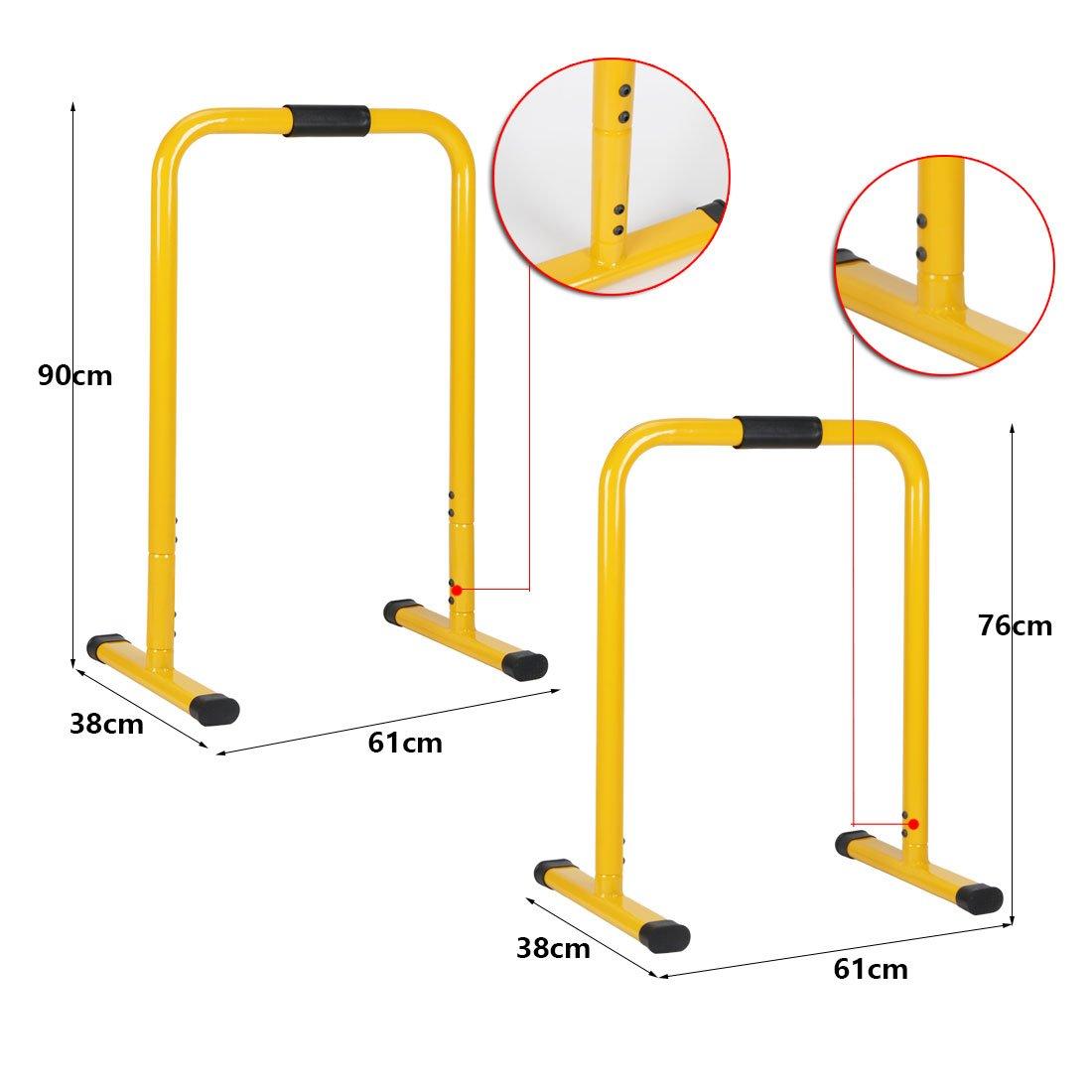 Calestina excelente Herramienta para el Entrenamiento de Cuerpo Completo HLC Barras Paralelas de Altura Ajustable de Dominadas 76 * 61 * 38 cm Fitness