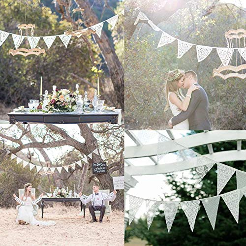 Streamers & Confetti - 12 Flags Lace Vintage Pennant Bunting Banner Decoration - Streamers Banners Streamers Confetti Garland Boho Photo House Party Wedding Events Balloon Heart Anniversary Pen