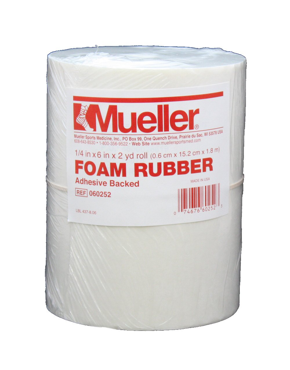 Mueller Foam Rubber - Adhesive backed, open cell, 1/4'' x 6'' x 2 yd roll