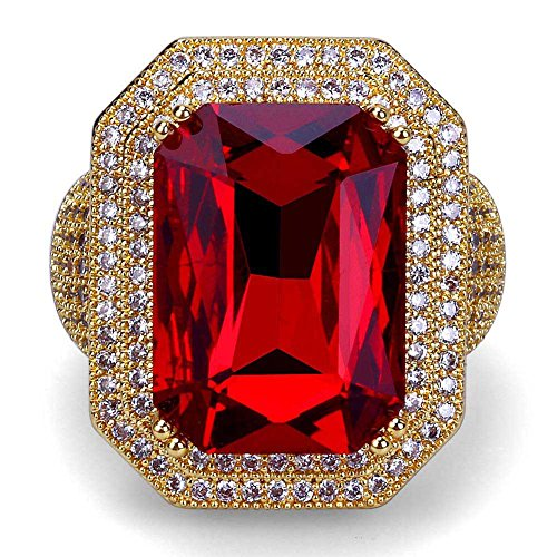 HongBoom Hot Hip Hop Rings 22K Gold Silver Plated CZ Crystal Fully Iced-Out Cuban Square Ruby Ring ()