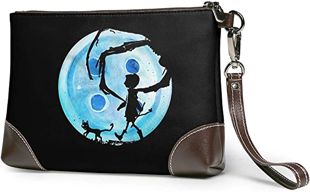 Amazon Com Mniunision Coraline Blue Full Moon Nightmare Cat Leather Clutch Bag Handbag Briefcase Cell Phone Wallet Shoes