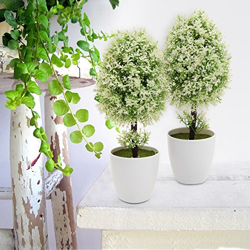 MyGift Plastic Artificial Plants, Small Synthetic Trees in Planter Pots, White by MyGift