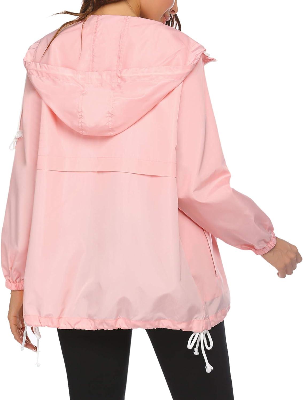 Unibelle Damen Regenjacke Regenmantel /Übergangsjacke Funktionsjacke Kapuzenjacke Softshelljacke Windbreaker Outdoor Wasserdicht Atmungsaktive Jacke S-XXL