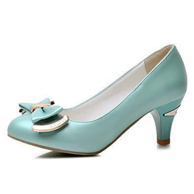 f23a15a34d8 AmoonyFashion Women s Solid Soft Material Kitten Heels Pull On Round Closed  Toe Pumps-Shoes