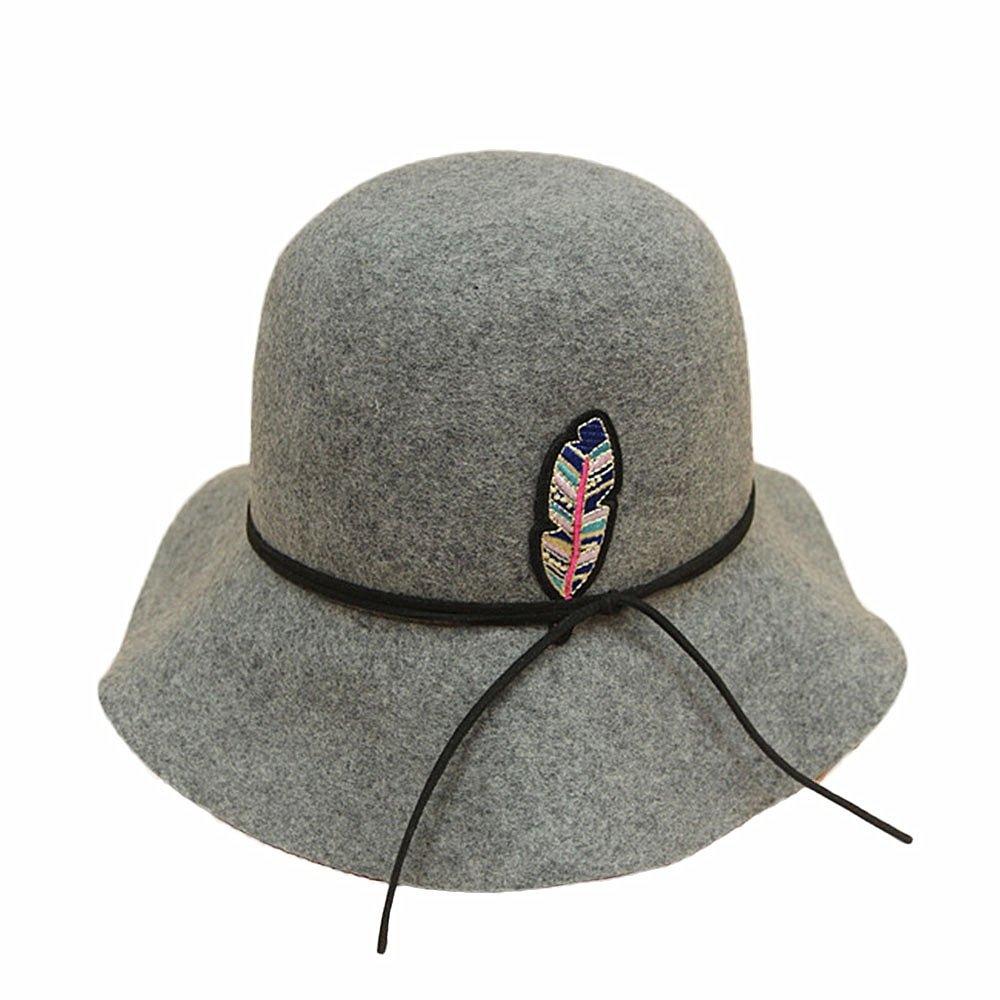 Shuo lan hu wai Frauen Hut Wolle Fischerhüte Warme Mütze Herbst Winter Saison Große Welle Rand Filzhut