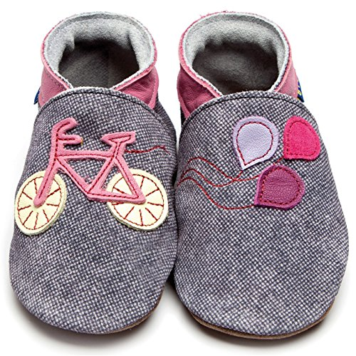 Inch Blue Girls Boys Luxury Leather Soft Sole Pram Shoes - Bike Denim / Rose Pink