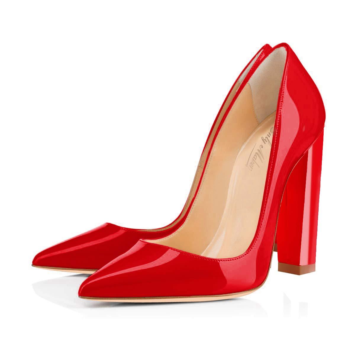 475c56439fdb3b Onlymaker Frauen wies Zehe Block Chunky Klassische High Heels Slip On Schuhe  Hochzeit Büro Party Pumps  Amazon.de  Schuhe   Handtaschen
