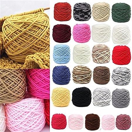 Ovillo de Lana Suave de algodón para Tejer a Mano, 200 g, 25 Colores: Amazon.es: Hogar