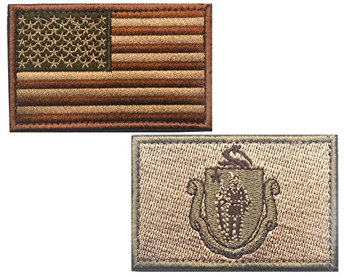 """HFDA 2 piece US Flag and KB MASSACHUSETTS Flag Patches Velcro Morale Patches Cloth Fabric Badges Tactical Patches for Cap Jackets (2""""x3"""", Color 13)"""