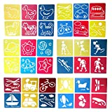 Mike Home 36 Piece Assorted Color Drawing Painting Stencils Templates for Kids (Templates A)