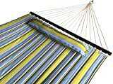 SueSport Doule Hammock Quilted Fabric with Pillow Double Size Spreader Bar Heavy Duty