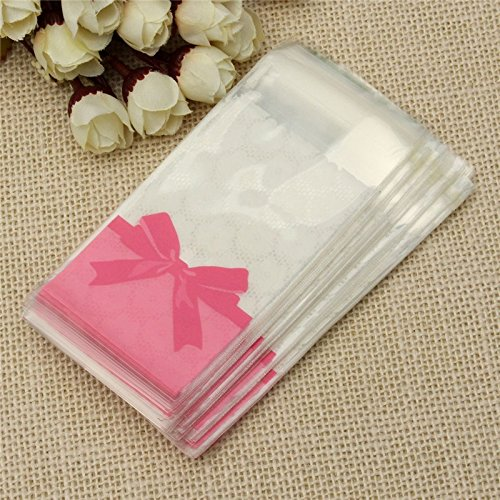 100pcs/lot Self-adhesive Candy Bags Wedding Mini Flower Lace Bow Gift Pink Clear Packaging Opp Bag Biscuit Cookies Storage