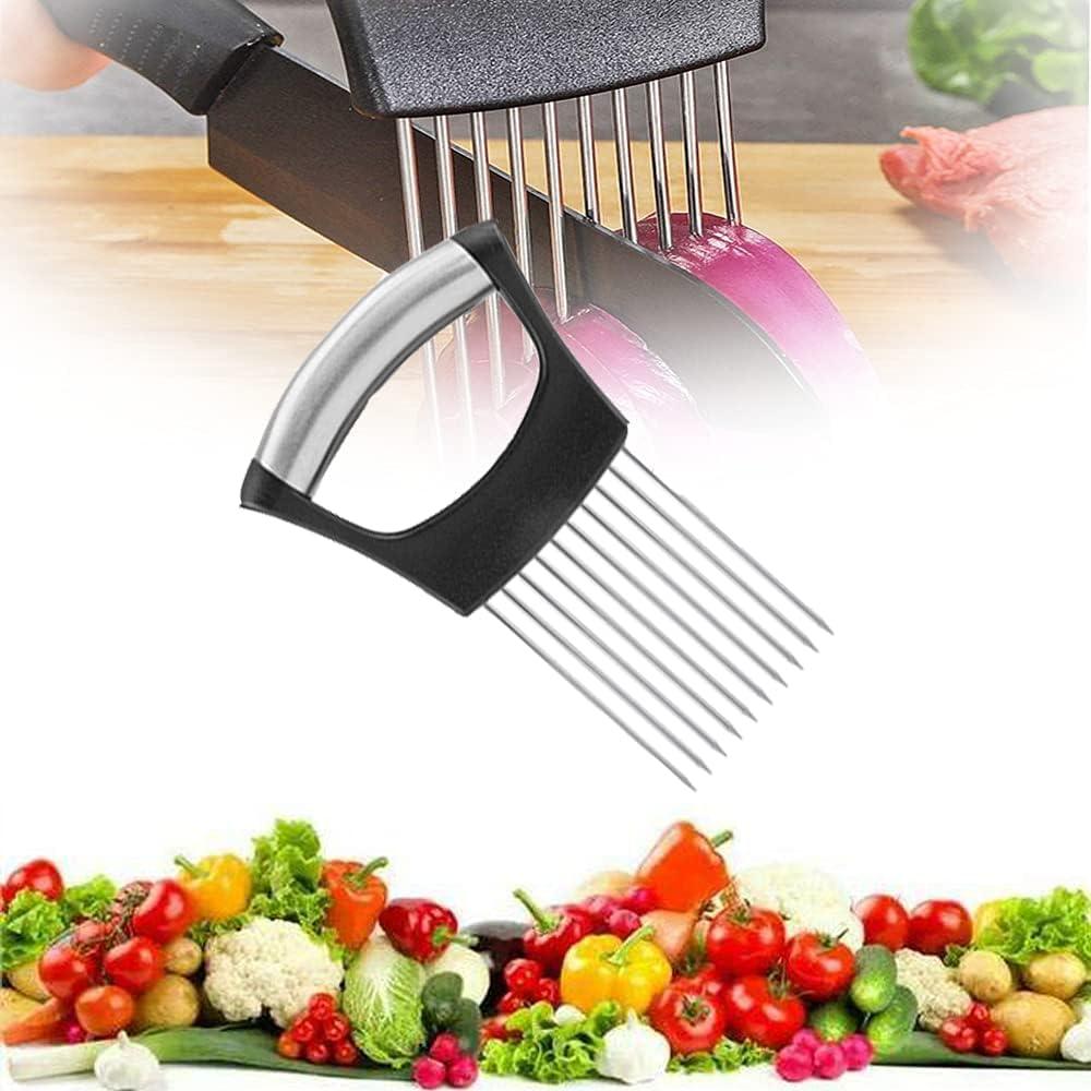 Food Slice Assistant, GGMNBB Onion Holder Slicer, Stainless Steel Fork Slicing, Vegetable Holder Tomato Slicer Helper, Food Choppers Slice Assistant, Kitchen Cutting Gadget