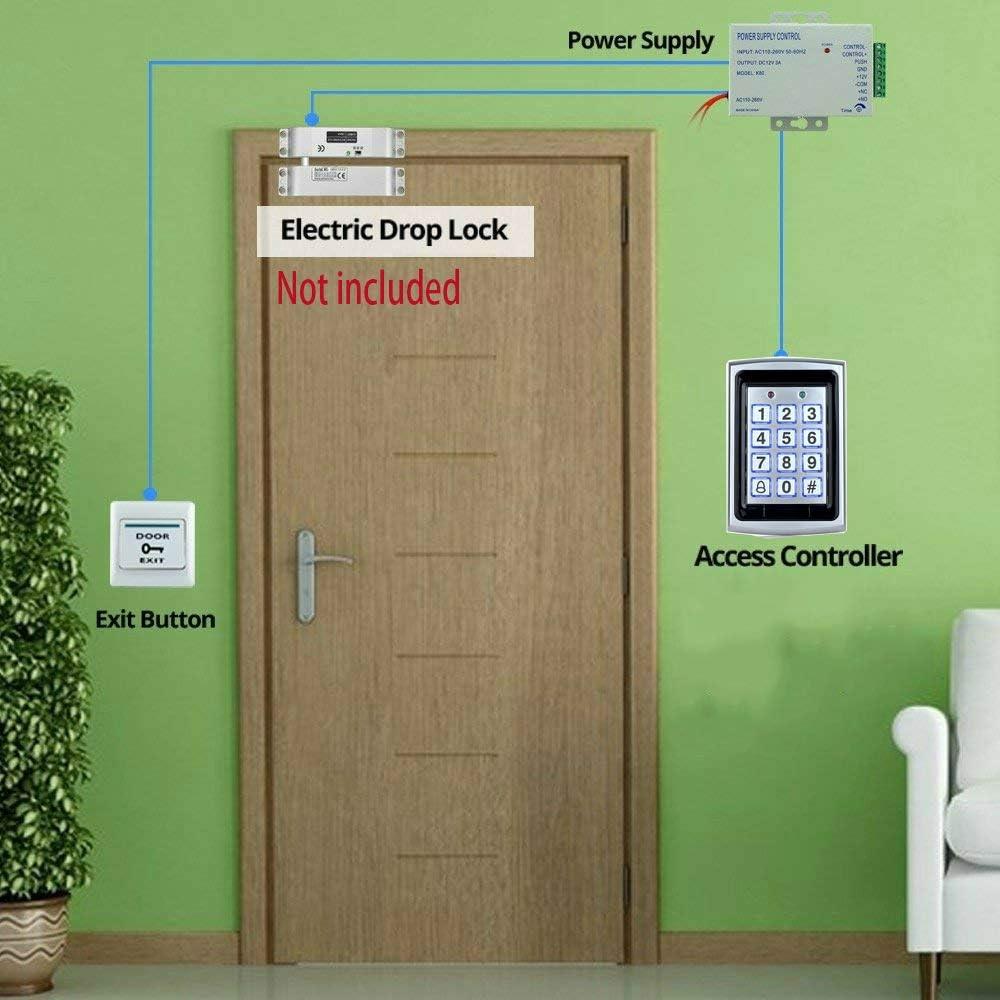 YAVIS RFID Control de Acceso Impermeable Teclado Táctil Independiente Proximidad para Sistema de Control de Acceso 125KHz Con 3A Fuente de Alimentación, Botón de Salida, 10pcs ID llaveros Keyfobs: Amazon.es: Bricolaje y