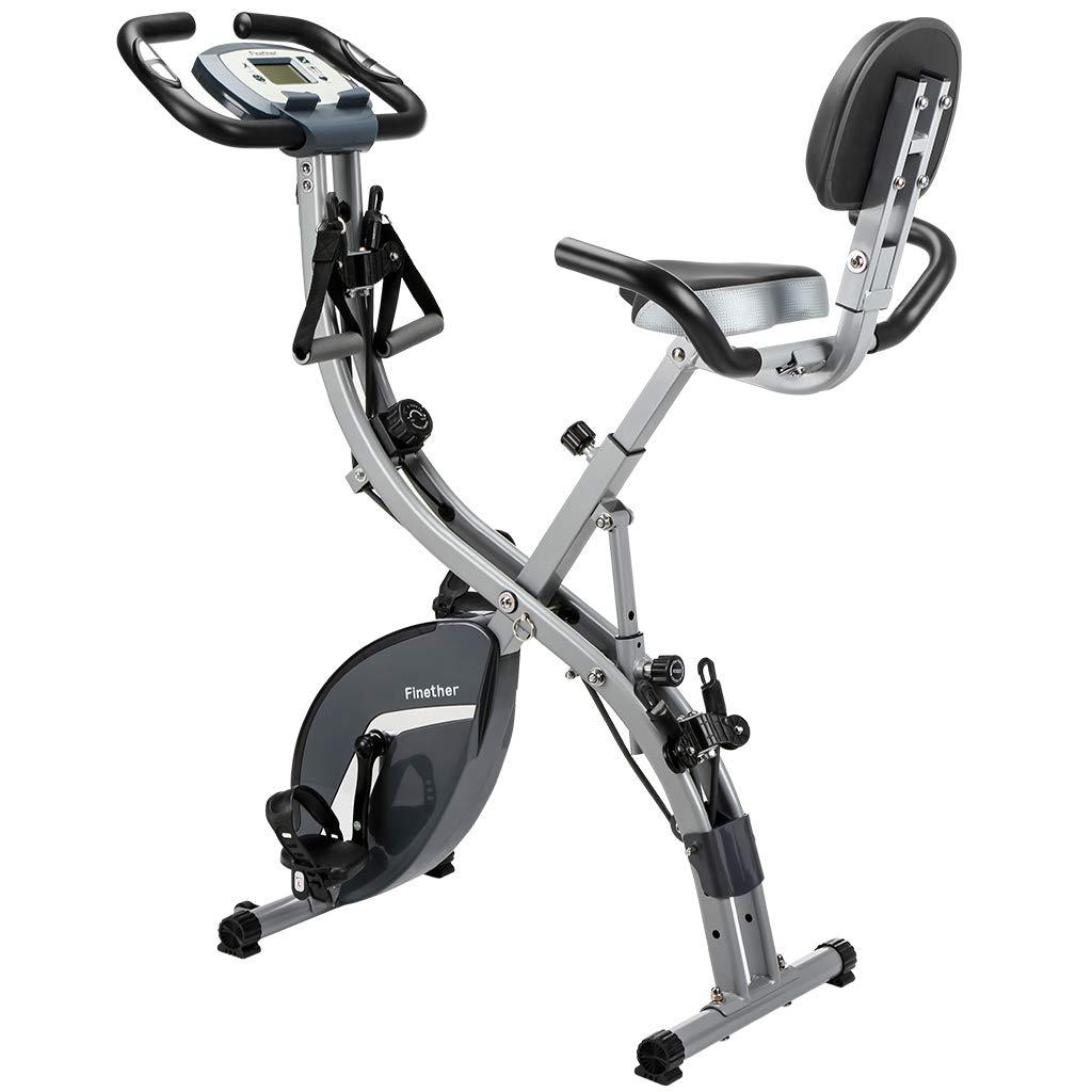 Finether F-Bike Heimtrainer Fahrradtrainer Hometrainer Fitnessbike Cardio-Bike X Bike Standfahrrad Trimmrad Trainingsrad mit LCD Display Türanker Fitnessbändern Pulsmessung Speedbike klappbar