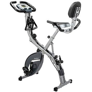 Finether Bicicleta Estática Plegable Magnética, Bicicleta de Entrenamiento con Respaldo, Bandas de Resistencia, Correas para Pies, 8 Niveles, ...