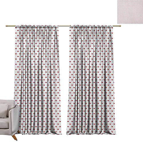 berrly Tie Up Window Drapes Living Room Diamonds,Dotted Rhombus Patterned Backdrop with Traditionally Cut Stones Composition, Blue Grey Ruby W108 x L84 Pocket Thermal Insulated Tie Up Curtains