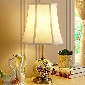 Lámpara de mesa de cerámica rústica americana, pantalla de tela ...