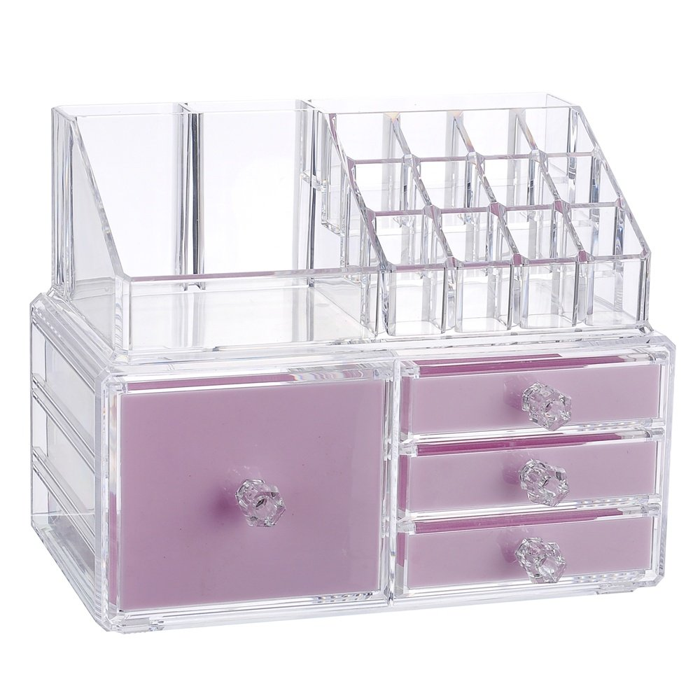 Younghoo 2 Tier Acrylic Jewelry and Cosmetic Storage Makeup Organizer Boxes Case with 4 Drawers, Create Your Own Specially Designed Makeup Counter –Stackable and Interchangeable- 9.5'' x 6.5'' x 7.2''