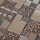 Copper Color Stainless Steel Metal Mosaic Tile For Kitchen Backsplash Wall (Box of 5 Sheets $135)