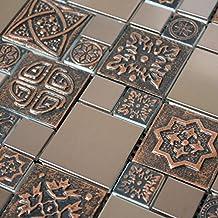 "Copper Color Stainless Steel Metal Mosaic Tile For Kitchen Backsplash Wall (3"" x 6"" Sample $8.99)"