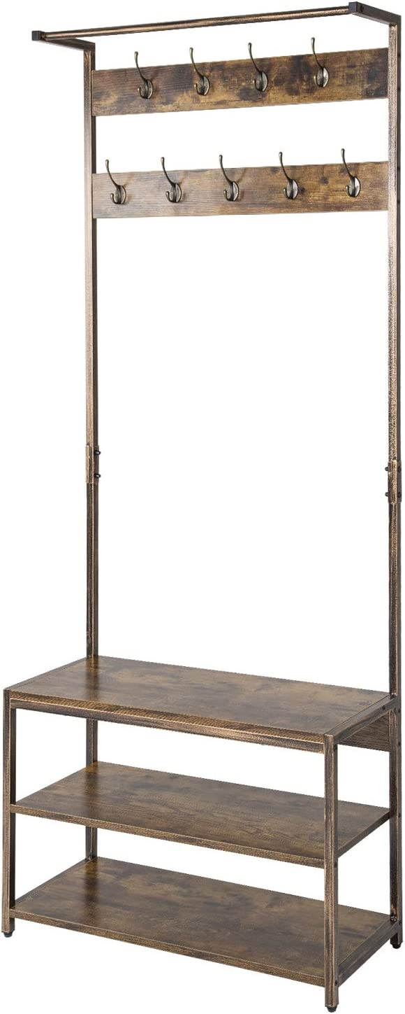 TOPSKY Coat Rack Shoe Bench Hall Tree with 9 Hooks 3 in 1 Design with Stable Rustic Metal Frame (Rustic Brown)