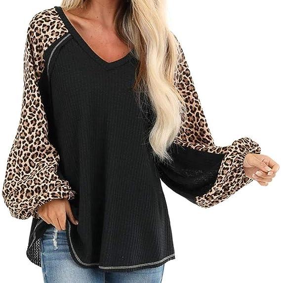 ღ YGbuy ♕ Moda para Mujer Cuello En V Estampado De Leopardo Costuras Manga Larga Dobladillo Irregular Top Verano Mujer Camisa Blanca Chal Playa Casual Camiseta Polo Camisa Sudadera: Amazon.es: Ropa y