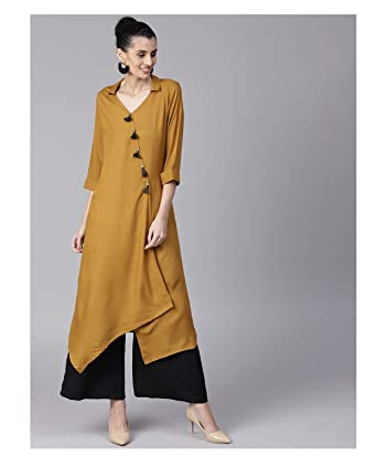 c63020f0d01 Amazon.com  Hiral Designer Mall Women Party Wear Cotton Mustard Brown  Layered Straight Kurta for women Kurtis Indian party ware Tunic Top   Clothing