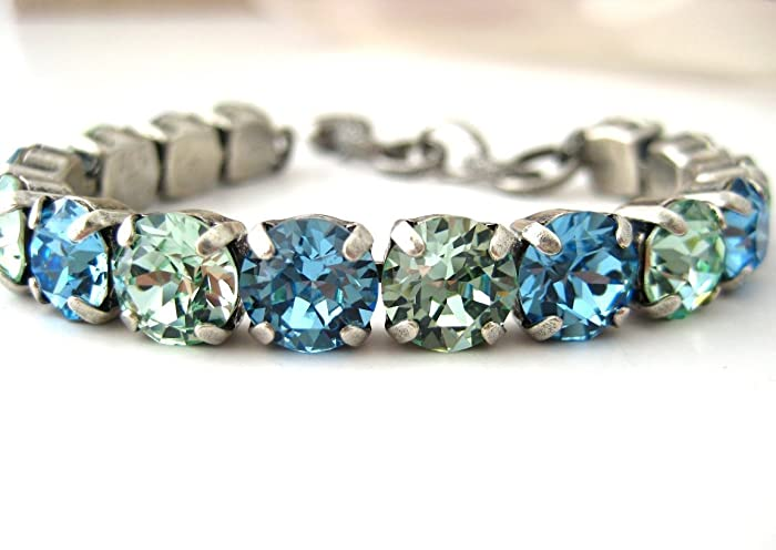 47fea1d331387 Amazon.com: Swarovski Crystal Bracelet Aqua and Chrysolite ...