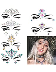 6 Sets Women Mermaid Face Gems Glitter,Rhinestone Rave Festival Face Jewels,Bindi Crystals Face Stickers, Eyes Face Body Temporary Tattoos for Music Festivals Vibe Bohemian Coachella