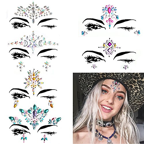 6 Sets Women Mermaid Face Gems Glitter,Rhinestone Rave Festival Face Jewels,Bindi Crystals Face Stickers, Eyes Face Body Temporary Tattoos for Music Festivals Vibe Bohemian Coachella by Diva Woo