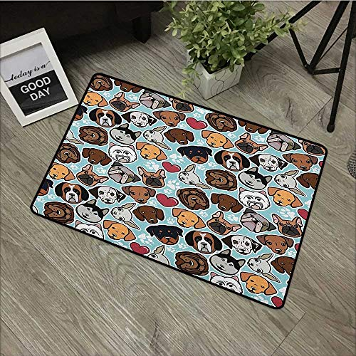 Bathroom anti-slip door mat W24 x L35 INCH Dog Lover,Canine Breeds Bulldog Chihuahua Siberians and Retriever Love Heart Paw Prints, Multicolor Natural dye printing to protect your baby's skin Non-slip ()