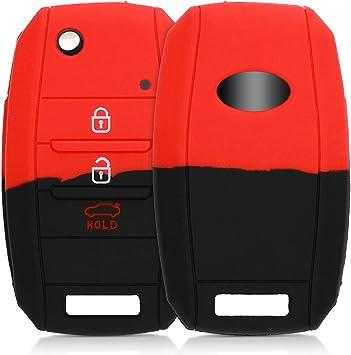 Funda de silicona mando de 4 botones de KIA Forte rojo Llave plegable de 4-Key