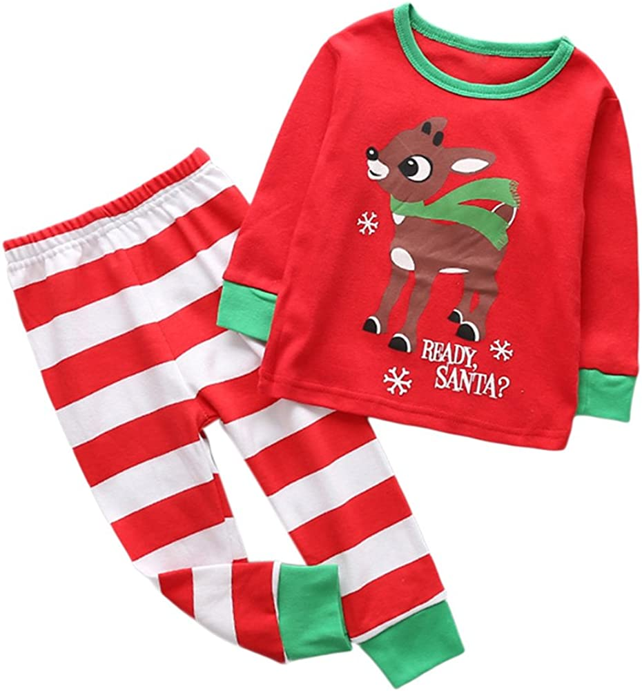 Girls Boys Christmas Style Two-pieces Pajamas Set Cotton Cartoon Sleepwear Long Sleeve Shirts and Pants
